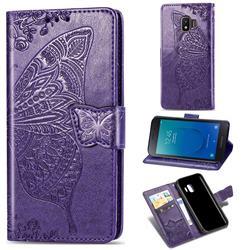 Embossing Mandala Flower Butterfly Leather Wallet Case for Samsung Galaxy J2 Core - Dark Purple