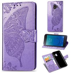 Embossing Mandala Flower Butterfly Leather Wallet Case for Samsung Galaxy J2 Core - Light Purple