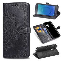 Embossing Imprint Mandala Flower Leather Wallet Case for Samsung Galaxy J2 Core - Black