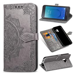 Embossing Imprint Mandala Flower Leather Wallet Case for Samsung Galaxy J2 Core - Gray