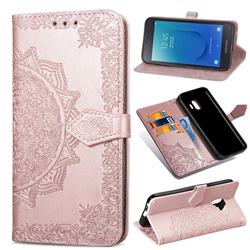 Embossing Imprint Mandala Flower Leather Wallet Case for Samsung Galaxy J2 Core - Rose Gold