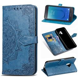 Embossing Imprint Mandala Flower Leather Wallet Case for Samsung Galaxy J2 Core - Blue