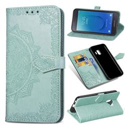 Embossing Imprint Mandala Flower Leather Wallet Case for Samsung Galaxy J2 Core - Green