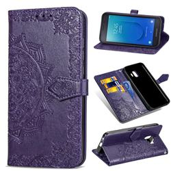 Embossing Imprint Mandala Flower Leather Wallet Case for Samsung Galaxy J2 Core - Purple