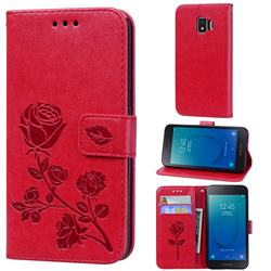 Embossing Rose Flower Leather Wallet Case for Samsung Galaxy J2 Core - Red