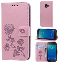 Embossing Rose Flower Leather Wallet Case for Samsung Galaxy J2 Core - Rose Gold