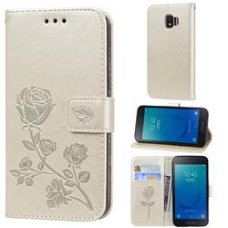 Embossing Rose Flower Leather Wallet Case for Samsung Galaxy J2 Core - Golden