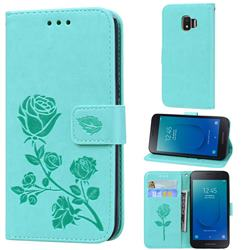 Embossing Rose Flower Leather Wallet Case for Samsung Galaxy J2 Core - Green