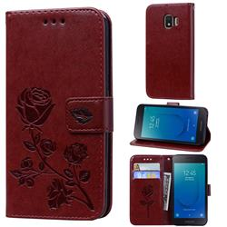 Embossing Rose Flower Leather Wallet Case for Samsung Galaxy J2 Core - Brown
