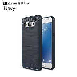 Luxury Carbon Fiber Brushed Wire Drawing Silicone TPU Back Cover for Samsung Galaxy J2 Prime G532 (Navy)