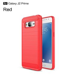 Luxury Carbon Fiber Brushed Wire Drawing Silicone TPU Back Cover for Samsung Galaxy J2 Prime G532 (Red)