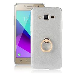 Luxury Soft TPU Glitter Back Ring Cover with 360 Rotate Finger Holder Buckle for Samsung Galaxy J2 Prime G532 - White