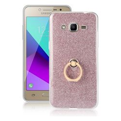 Luxury Soft TPU Glitter Back Ring Cover with 360 Rotate Finger Holder Buckle for Samsung Galaxy J2 Prime G532 - Pink