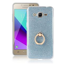 Luxury Soft TPU Glitter Back Ring Cover with 360 Rotate Finger Holder Buckle for Samsung Galaxy J2 Prime G532 - Blue