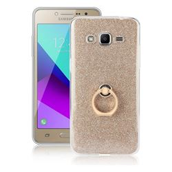 Luxury Soft TPU Glitter Back Ring Cover with 360 Rotate Finger Holder Buckle for Samsung Galaxy J2 Prime G532 - Golden