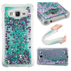 Dynamic Liquid Glitter Sand Quicksand TPU Case for Samsung Galaxy J2 Prime G532 - Green Love Heart