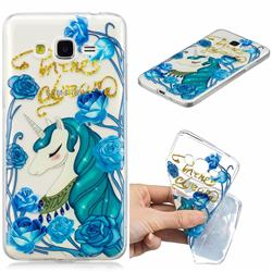 Blue Flower Unicorn Clear Varnish Soft Phone Back Cover for Samsung Galaxy J2 Prime G532
