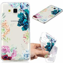 Gem Flower Clear Varnish Soft Phone Back Cover for Samsung Galaxy J2 Prime G532