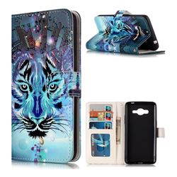Ice Wolf 3D Relief Oil PU Leather Wallet Case for Samsung Galaxy J2 Prime G532