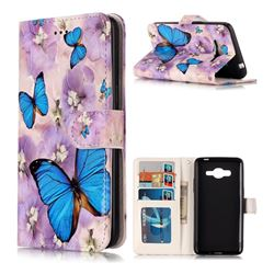 Purple Flowers Butterfly 3D Relief Oil PU Leather Wallet Case for Samsung Galaxy J2 Prime G532