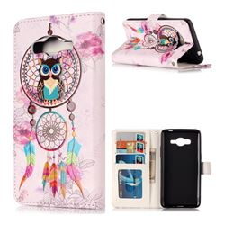 Wind Chimes Owl 3D Relief Oil PU Leather Wallet Case for Samsung Galaxy J2 Prime G532