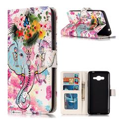 Flower Elephant 3D Relief Oil PU Leather Wallet Case for Samsung Galaxy J2 Prime G532