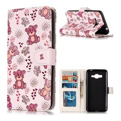 Cute Bear 3D Relief Oil PU Leather Wallet Case for Samsung Galaxy J2 Prime G532