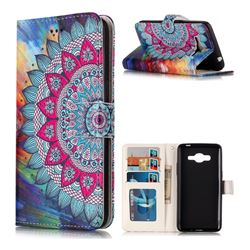 Mandala Flower 3D Relief Oil PU Leather Wallet Case for Samsung Galaxy J2 Prime G532