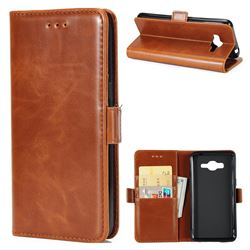 Luxury Crazy Horse PU Leather Wallet Case for Samsung Galaxy J2 Prime G532 - Brown