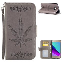Intricate Embossing Maple Leather Wallet Case for Samsung Galaxy J2 Prime G532 - Gray