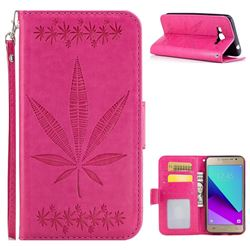 Intricate Embossing Maple Leather Wallet Case for Samsung Galaxy J2 Prime G532 - Rose