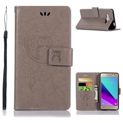 Intricate Embossing Owl Campanula Leather Wallet Case for Samsung Galaxy J2 Prime G532 - Grey
