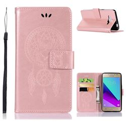 Intricate Embossing Owl Campanula Leather Wallet Case for Samsung Galaxy J2 Prime G532 - Rose Gold