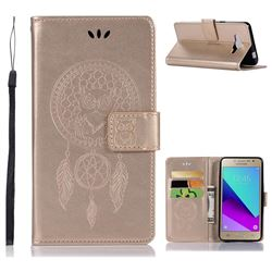 Intricate Embossing Owl Campanula Leather Wallet Case for Samsung Galaxy J2 Prime G532 - Champagne