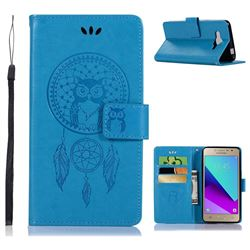 Intricate Embossing Owl Campanula Leather Wallet Case for Samsung Galaxy J2 Prime G532 - Blue