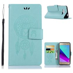 Intricate Embossing Owl Campanula Leather Wallet Case for Samsung Galaxy J2 Prime G532 - Green