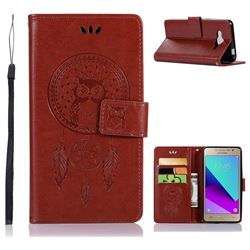 Intricate Embossing Owl Campanula Leather Wallet Case for Samsung Galaxy J2 Prime G532 - Brown