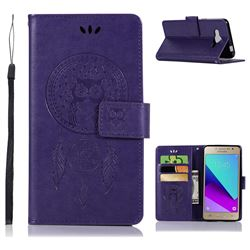 Intricate Embossing Owl Campanula Leather Wallet Case for Samsung Galaxy J2 Prime G532 - Purple