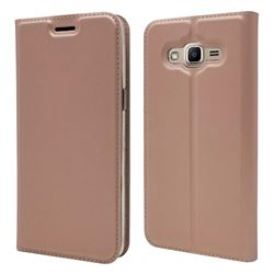 Ultra Slim Card Magnetic Automatic Suction Leather Wallet Case for Samsung Galaxy J2 Prime G532 - Rose Gold