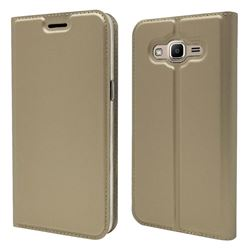Ultra Slim Card Magnetic Automatic Suction Leather Wallet Case for Samsung Galaxy J2 Prime G532 - Champagne