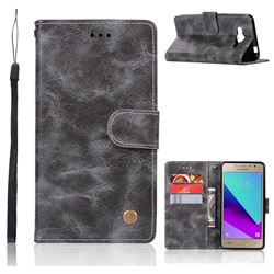 Luxury Retro Leather Wallet Case for Samsung Galaxy J2 Prime G532 - Gray