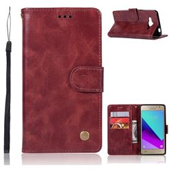 Luxury Retro Leather Wallet Case for Samsung Galaxy J2 Prime G532 - Wine Red