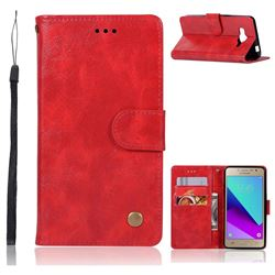 Luxury Retro Leather Wallet Case for Samsung Galaxy J2 Prime G532 - Red