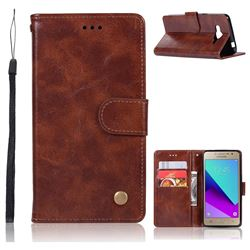 Luxury Retro Leather Wallet Case for Samsung Galaxy J2 Prime G532 - Brown