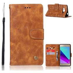 Luxury Retro Leather Wallet Case for Samsung Galaxy J2 Prime G532 - Golden