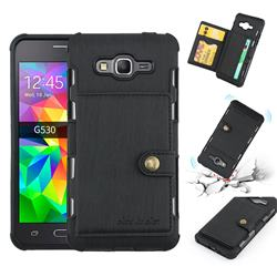 Brush Multi-function Leather Phone Case for Samsung Galaxy J2 Prime G532 - Black