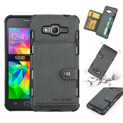 Brush Multi-function Leather Phone Case for Samsung Galaxy J2 Prime G532 - Gray