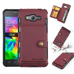Brush Multi-function Leather Phone Case for Samsung Galaxy J2 Prime G532 - Wine Red