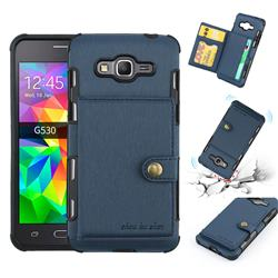 Brush Multi-function Leather Phone Case for Samsung Galaxy J2 Prime G532 - Blue