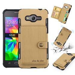 Brush Multi-function Leather Phone Case for Samsung Galaxy J2 Prime G532 - Golden